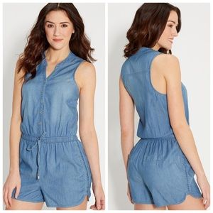 MAURICES CHAMBRAY ROMPER SZ LARGE